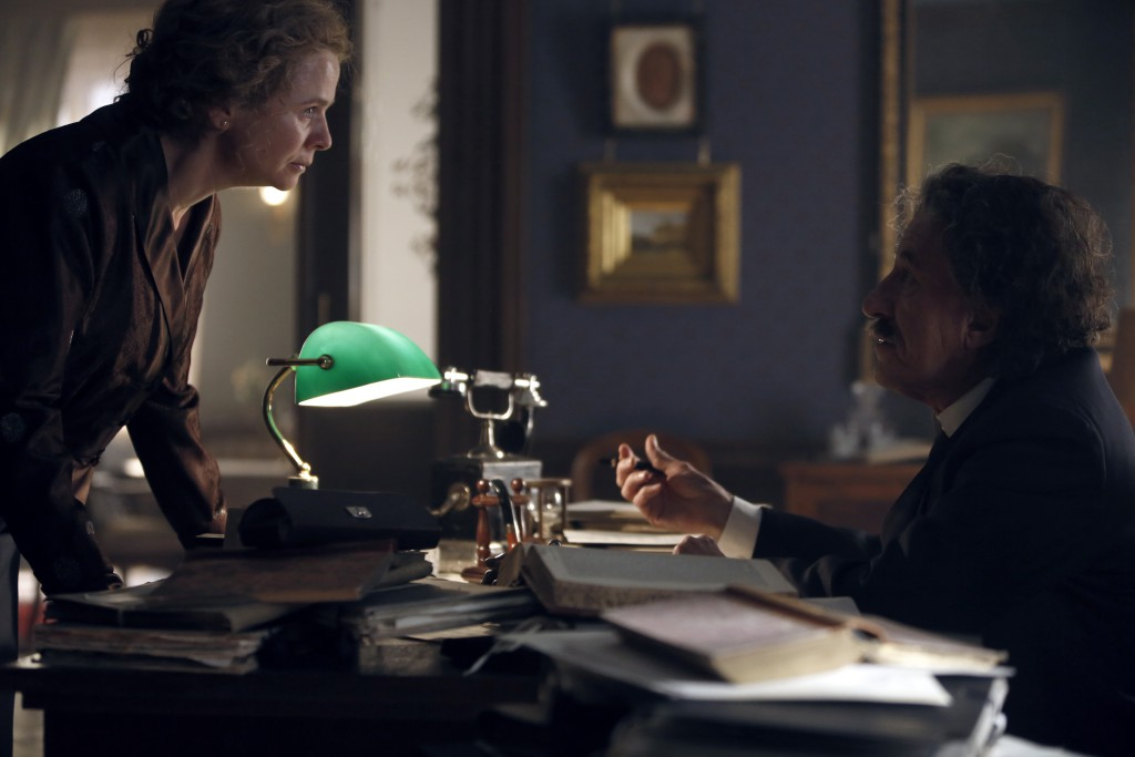 Czech Republic - Emily Watson (Elsa Einstein) with Geoffrey Rush (Albert Einstein) in National Geographic's Genius (National Geographic/Dusan Martincek)